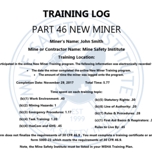 part 46 new miner training