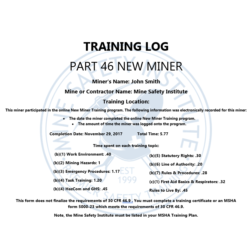 part 46 new miner training & certification | mine safety institute